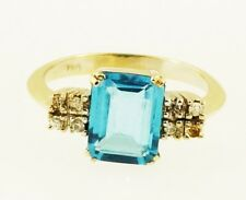 18Ct White Gold Emerald Cut Blue Topaz Solitaire w/ Diamond Accents Ring(Size K)