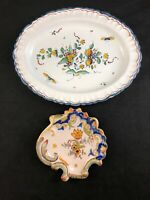 """🔷 Rouen Fait Main Hand Made French Faience 9 1/2"""" Oval Platter & Spoon Rest"""