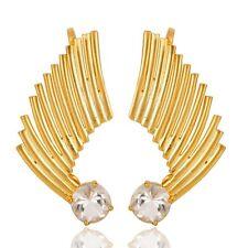 White Topaz Birthstone Jewelry, Gold Vermeil Sterling Silver Ear Cuff Jewelry