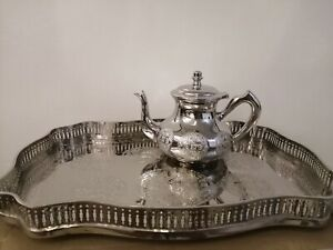 Moroccan royal tray with large teapot tea set silver authentic serveware Fez