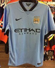 Team Manchester City FC Soccer Blue Jersey Short Sleeves Premier League Large