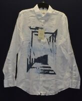 Murano Baird McNutt Men's Blue White Slim Fit 100% Linen Long Sleeve Shirts L XL