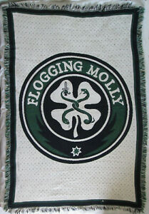 Flogging Molly Shamrock and Snakes Afghan Throw Blanket DISTRESSED with HOLES