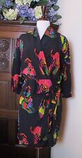 Vtg ESCADA  Black Silk Blouse & Skirt NEON BRIGHT ANIMAL PRINT EU 36 38 / 6 8 US