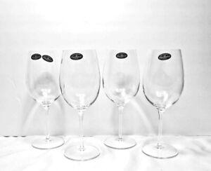 CRYSTAL Stem Wine GLASSES LUIGI BORMIOLI ACCADEMIA Set of 4 Signed NEW Bar Ware