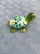 Blue Green Tones Glass Turtle Paperweight