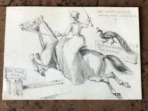 small 1880s pencil drawing of a lady on horseback  (cartoon type ) well drawn !