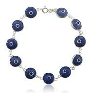 """Sterling Silver Evil Eye Good Luck Charm Adjustable Bracelet 7"""""""