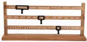 Vintage Perpetual Sliding Wooden Desk Calendar Rustic Gift Home Decor Calender