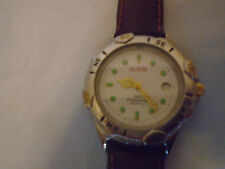GUESS Woman's  Brown Leather Strap Watch W/ Silver Analog Dial