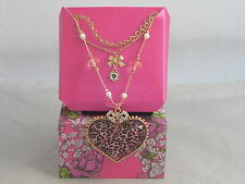 Betsey Johnson Goldtone Pink Leopard Heart Bow 3 Layer Necklace $35