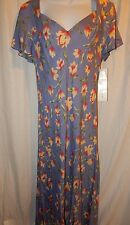 Betsy's Things Dress 16 Blue Yellow Floral Print VTG V Neck Long Cap Sleeve D58
