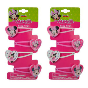 8 Hair Pins Snap Snaps Clips *~  Disney Minnie Mouse ~ Kids Girls Pink Bow