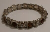 Silver Tone Diamante Stones Stretch Bracelet
