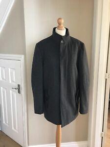 M & S Men's Grey Wool Mix Coat/jacket/Overcoat, Medium Standard,Great Condition