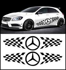 2 x Mercedes Benz-Logo Rennstreifen Seitenstreifen 150 cm Aufkleber Sticker Auto