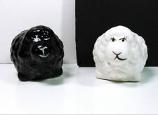 "Ba Baa BLACK & WHITE SHEEP Vintage SALT & PEPPER SHAKERS Glass Ceramic 2"" x 3"""
