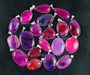 50 PCs Natural Pink Crackle Agate Gemstone Silver Plated Bezel Pendants Jewelry