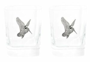Woodcock Flying Pair of Crystal Tumblers WT Whiskey Glasses & Box Gift 402