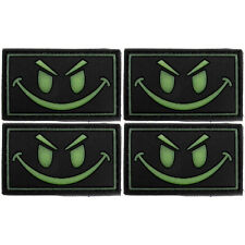 4x Dark Smiley Face PVC Morale Patch 3D Tactical Badge Hook #15 Airsoft Paintbal