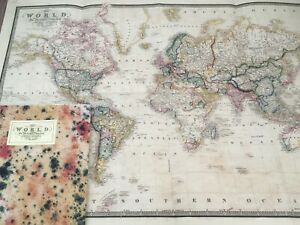 Republished Print Old Folding Map of the World circa 1861