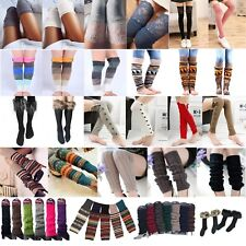 Womens Winter Warm Knit Crochet High Knee Leg Warmer Soft Leggings Boot Socks