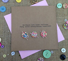 "Luxury Handmade Mother's Day Card ""Button"" - Mum Nan Grandmother"