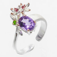 Fine 925 Sterling Silver natural Amethyst and rhodolite chrome diopside RVS115