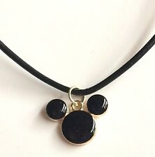 """Gold Mickey Mouse Necklace Leather Ears Cartoon Plated 19"""" Disney Pendant USA"""