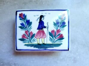 Rare Henriot Quimper France Hand painted Trinket Box  with Lid