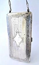 Antique German Silver Powder Compact & Coin Dance Purse Vanity. SEE!