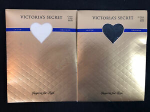Victoria's Secret Lasting Lace Top Thigh Highs Jet Black and Cream Size Large