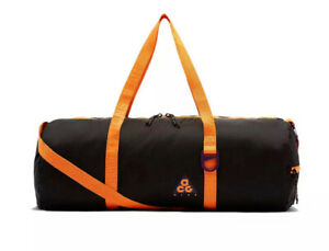 NEW Nike Nk ACG Packable Duffel bag Black Bright Mandarin BA5840-537