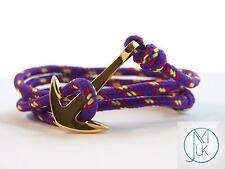 Stainless Steel Gold Anchor Bracelet Rope Paracord Purple Wrap Around Adjustable