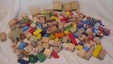 Huge Lot Wood Building Blocks 8 lbs 250+ misc blocks. People Animals preschool