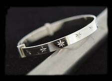 Silver Baby Bangle with diamond cut pattern - Free Name Engraved