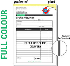 PERSONALISED A4 INVOICE BOOK / DUPLICATE / NCR / RECEIPT / ESTIMATE, 50 SETS/PAD