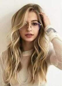 100% Human Hair! New Beautiful Women's Long Brown Mix Blonde Wavy Real Hair Wigs