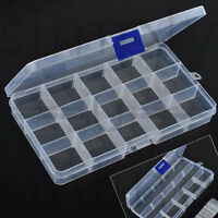 COMPARTMENT ORGANISER STORAGE PLASTIC BOX BANDS CRAFT NAIL ART BEADS GEM