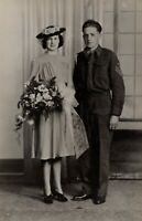 WWII British Canadian Soldier Pretty Woman Wedding Photograph RPPC Post Card