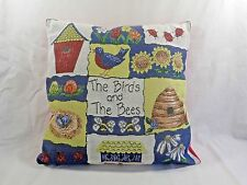 "Tapestry Throw Pillow THE BIRDS AND THE BEES 16"" x 16"" Blue Yellow Red"