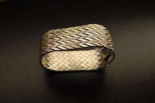 """Vintage Signed Milor Italy 66 GR Sterling Silver 925 1"""" Bracelet Art Deco Style"""
