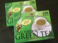 (2 BOXES) Ceylon Tea Club Pure Green Tea  Bags 100 Staple-Free Bags per Box