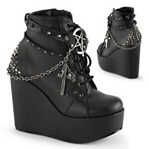 Demonia Womens POISON-101 Boots Goth Punk Wedge Black Platform Ankle Chain