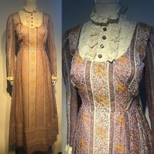 Vintage 1970s Cotton Voile Prairie Boho Dress