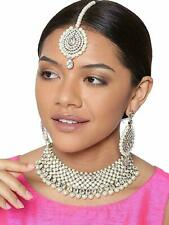 Indian Bollywood Style CZ Wedding Silver Fashion Jewelry Necklace Bracelet set