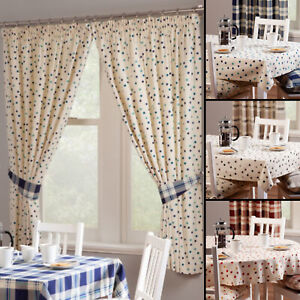 Polly Spotted Cotton Kitchen Curtains With Optional Checked Or Spot Accessories
