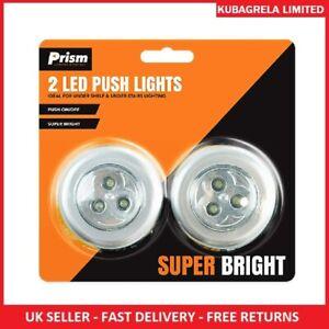 2 LED PUSH LIGHTS - On off self STICKY BACK click SUPER BRIGHT under shelf