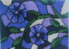 "LATCH HOOK RUG  KIT  "" STAINED GLASS PURPLE RUG"" Floral design by Mary Maxim"