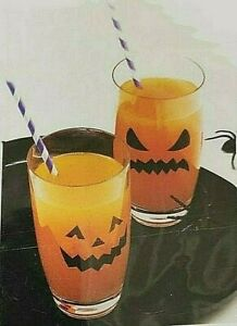 32 x Spooky Devilish Halloween Faces Glass Bottle Party Stickers Drink Clings